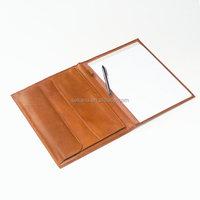 custom unique file folder with pen loop document holder A5 pu leather
