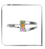 925 Sterling Silver Personalized Name Family Mother Custom Ring With Birthstones