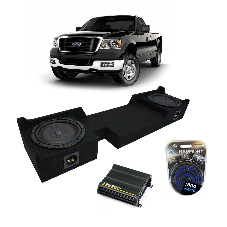 """2004-2008 Ford F-150 Ext Super Cab Truck Kicker CompVT CVT10 Dual 10"""" Sub Box Enclosure & CX600.1 Amp"""
