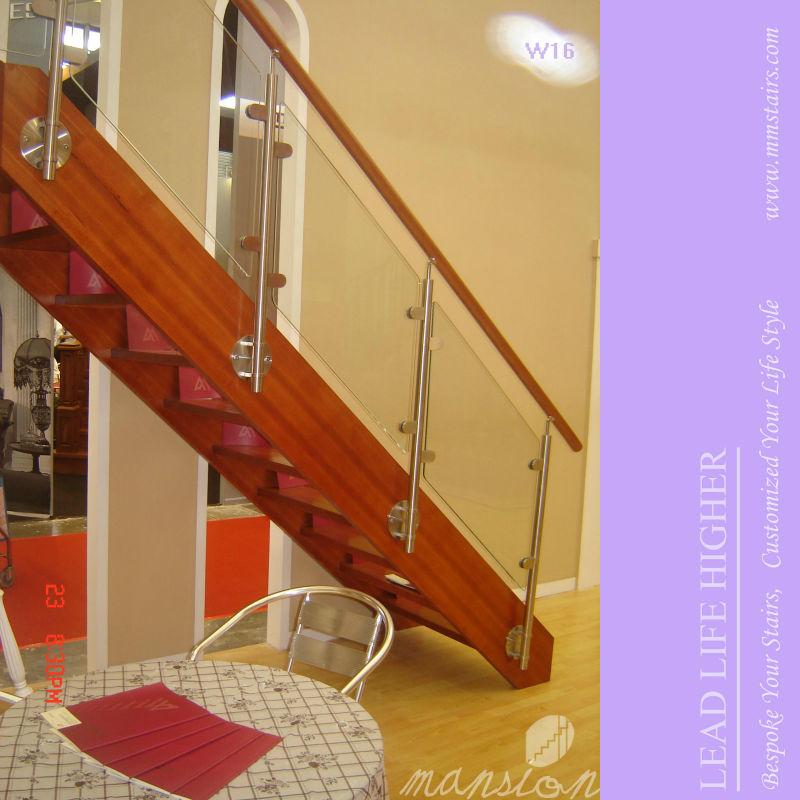 Mansi n de madera escaleras interiores de vidrio recto - Escaleras de madera para interior ...