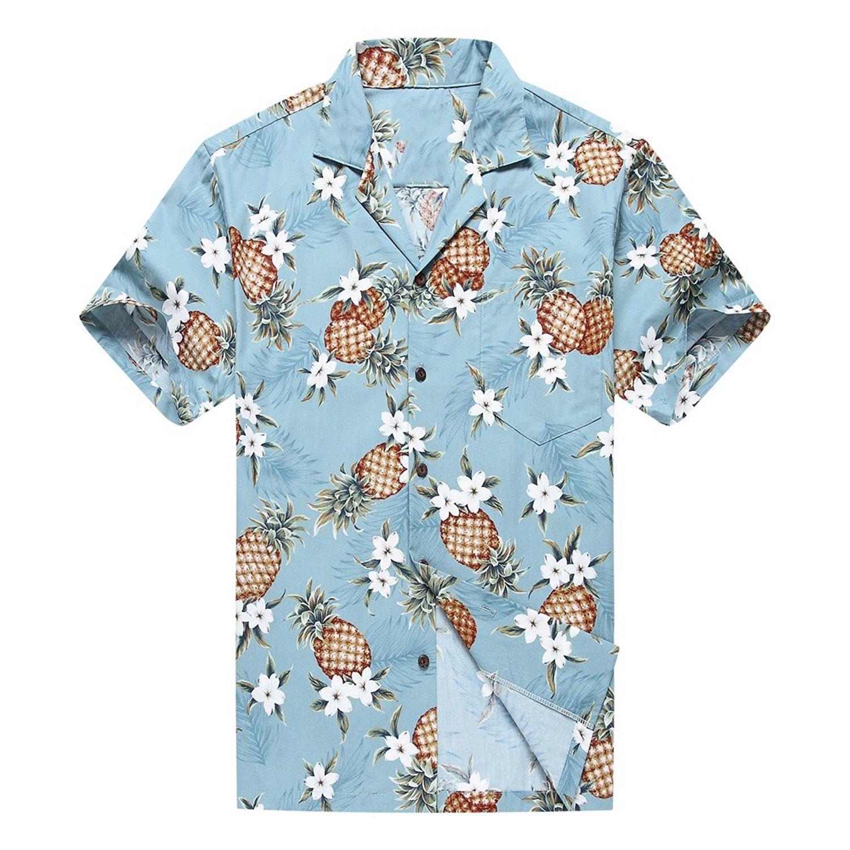 eae1bd608 Get Quotations · Made in Hawaii Men's Hawaiian Shirt Aloha Shirt Golden  Pineapple in Vintage Blue