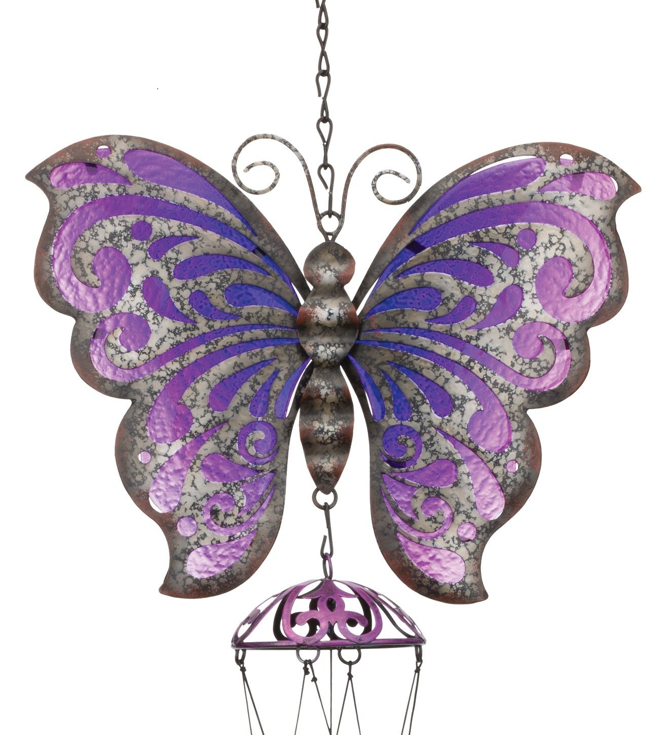 Regal Art & Gift Garden Rustic Butterfly 9.5 Inches X3 Inches X33 Inches Metal Glass Chime -Wind Noisemakers