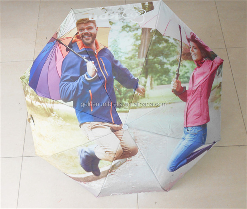 Digital printing 2 layers windguard 3 FOLD umbrella