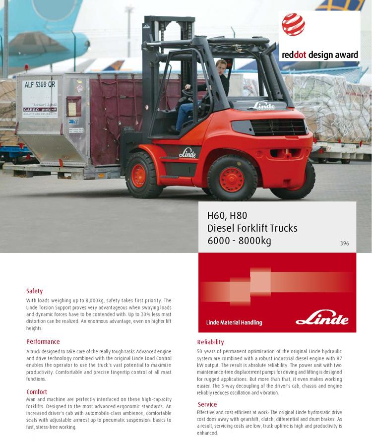Linde new 6t 8t diesel forklift truck 396 series H60 H80