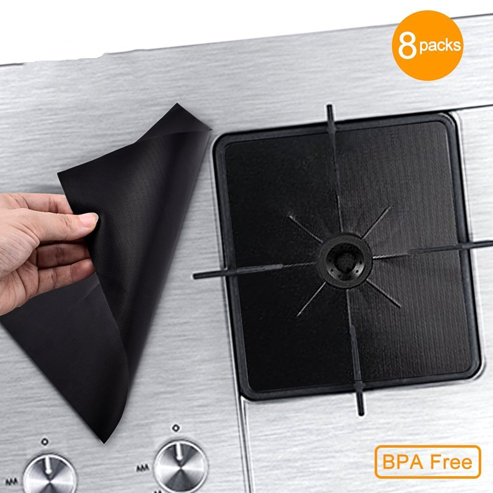 "Gas Stove Burner Covers Liners Stove Top Covers for Gas Burners - 0.2 mm Gas Stove Range Pilot Protector Double Thickness, Reusable, Non-Stick, Easy to Clean Oven Liners 10.6"" x 10.6""(8Pack)"