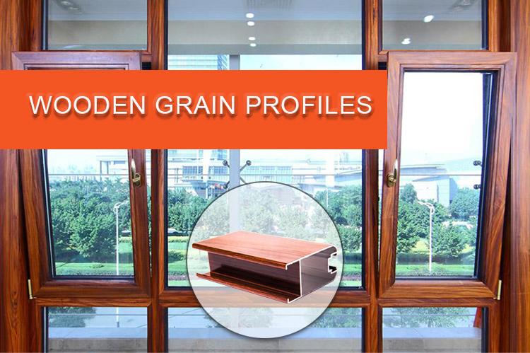 Perfis extrudados de alumínio 6063 6061 t5 t6, a transferência de grão de madeira perfis de extrusão de alumínio para windows & doors