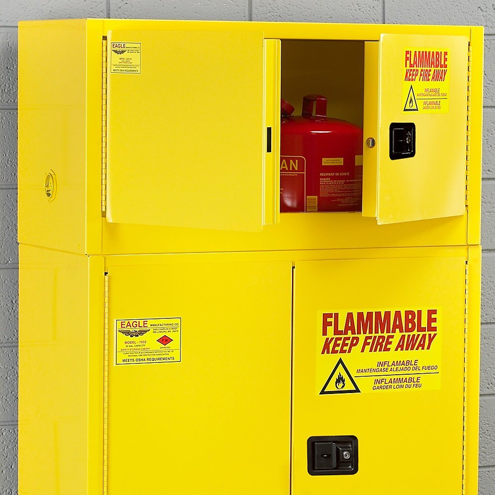 "Eagle Stack-On Flammable Liquids Safety Cabinet - 43X18x22"" - 15-Gallon Capacity - Manual-Closing Doors - Yellow - Yellow"