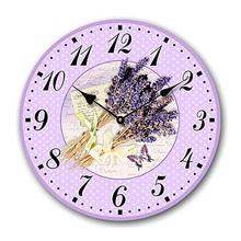 Home Decoration Vintage Style Shabby Chic MDF lavender Vintage Style Wall Clock