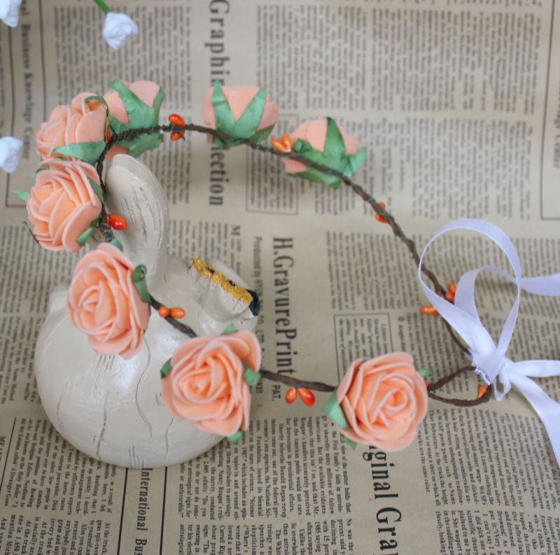 High quality artificial rose flower hair wreath for wedding