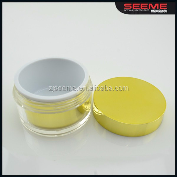 yellow cosmetic acrylic bottle cosmetic plastic container lotion pump bottle
