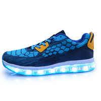 2018 Wholesale stylish Factory Direct Air Cushion led shoes knitting Fabric lighted shoes