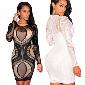 Top seller gorgeous embroidery pattern lining lace bodycon club dress lady