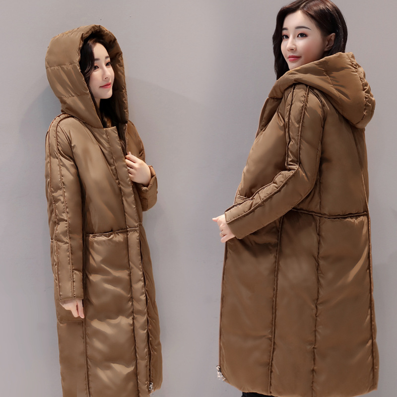 Fashion Newest Design European Women Ladies Brown Loose Winter Long Parka Synthetic Down Coats With Hood