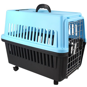 Market transport plastic handle dog cage with wheels pet carrier/durable plastic aviation pet