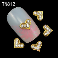 10pcs Golden Metal Heart Rhinestones 3d Nail Art Decorations, Alloy Nail Stcikers Charms Jewelry for Nail Gel/Polish Tools TN812