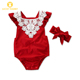 Red Newborn Baby Girl Lace Romper Wholesale Hooded Little Toddler Newborn Female Infant Baby Clothes For Baby Girls
