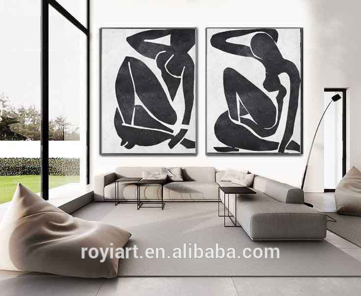2 Panel Creative Canvas Wall Art Abstract Modern Black White Oil Painting Buy Handmade Oil Painting Blacke White Painting Acrylic Painting Product