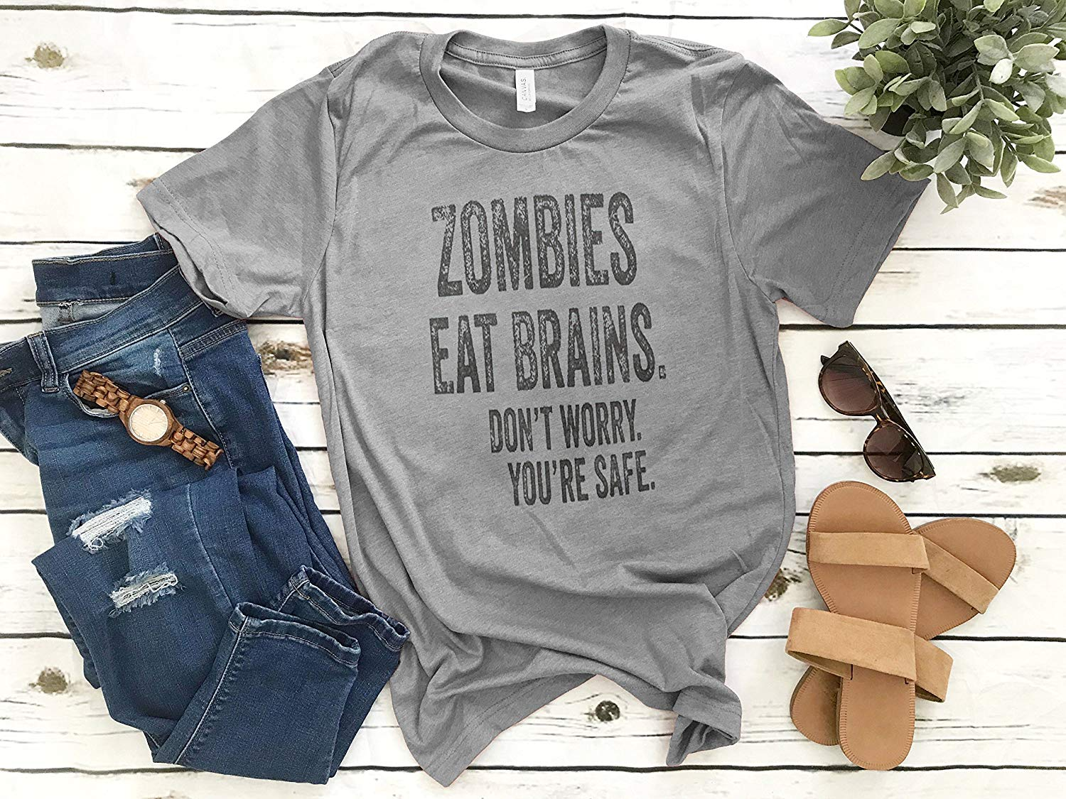 8faedc839 Get Quotations · Zombies Eat Brains Don't Worry You're Safe T-shirt, Ladies