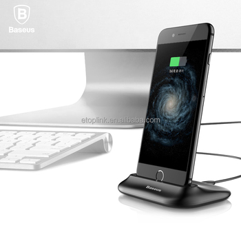 Baseus Little Volcano Desk Charging Station Dock 2.4A Fast Charge for iPhone 7 Aluminum Phone Holder Stand for Apple Dock