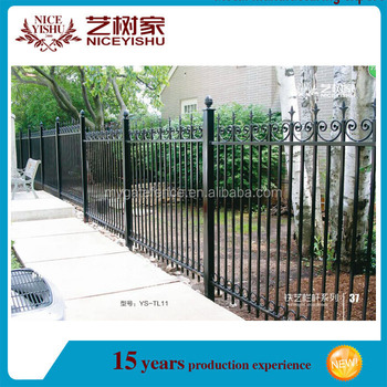 Yishujia Factory Wrought Iron Grill Design For Boundary Wall Fence