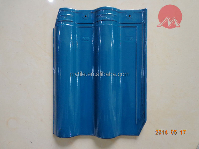 4003 Blue glossy interlocking clay roof tile