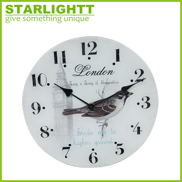 Cheap antique style shabby chic round decorative glass wall clock bird clock for sale
