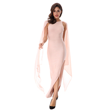 Women Mesh Cloak Sleeves Celebrity Elegant Maxi Long Evening Bandage Dress