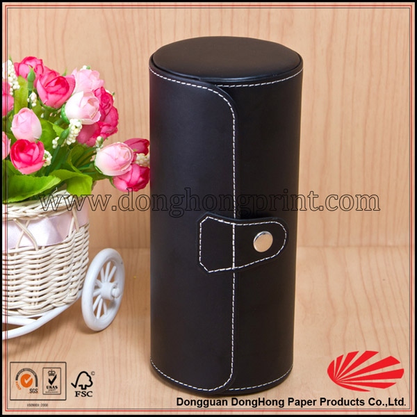 Alibaba NEW Mysterious Black Color Leather Wine Carrier Packaging DH4014#