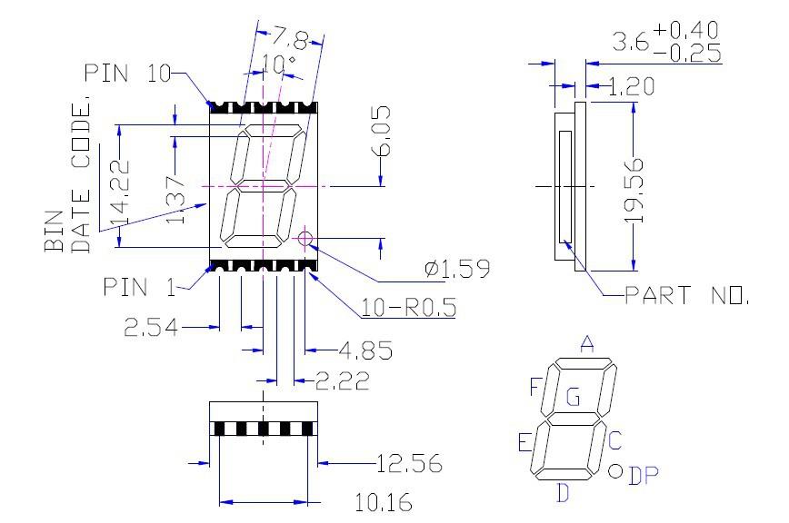 Ultra blue 0.56 inch fyls-5611a/bub 7 segment smd led display