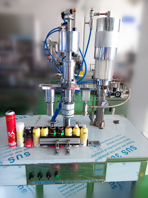 Machine filling spray cans, fill aerosol cans semi-auto filler, body spray can filling machine