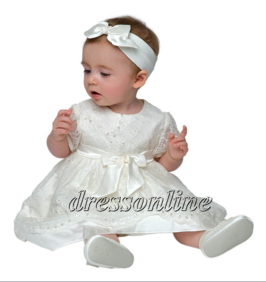 8e73dd328 Get Quotations · Lovely New Style White and Ivory Beaded Lace Baby Baptism  Gowns Christening Dress with Bow Headband