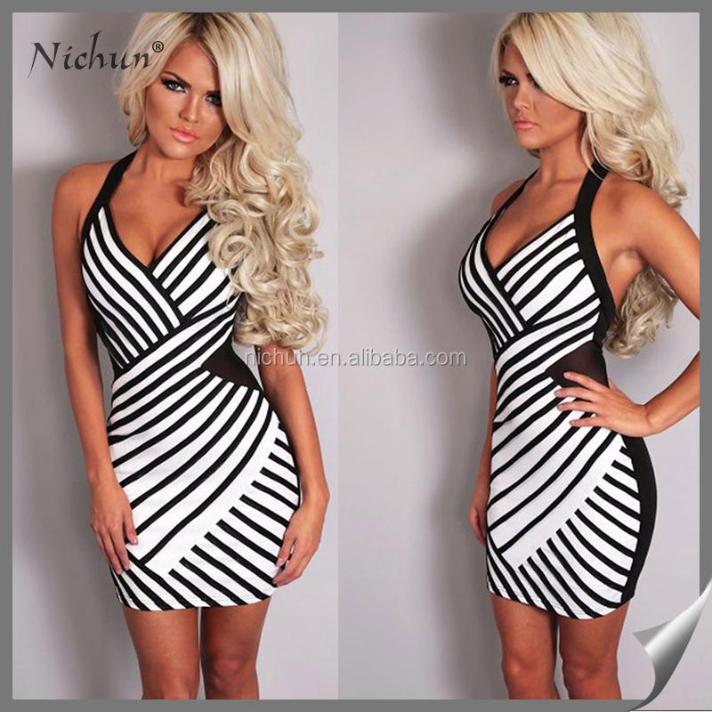 moderne damen halter stripe g nstige kleider frauen verein kleider produkt id 60429808721 german