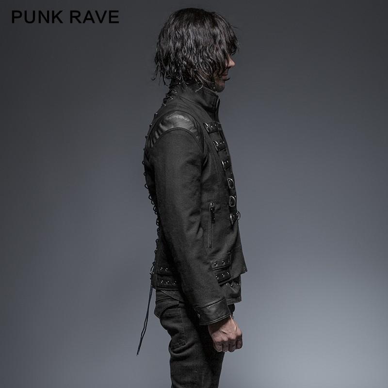 Tachonado Rave Guapo Tipo De Hombre Abrigo Y 637 Punk Corto Abrigo qvEI06Hwx