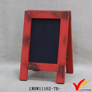 red frame decorate antique standing blackboard