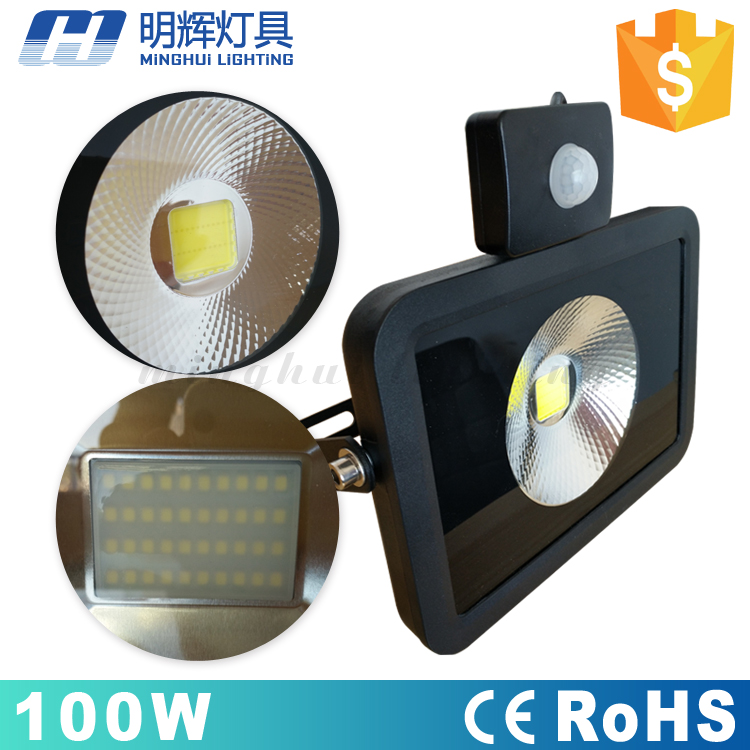 COB waterproof IP65 high power driverless 100w led outdoor <strong>flood</strong> light with sensor