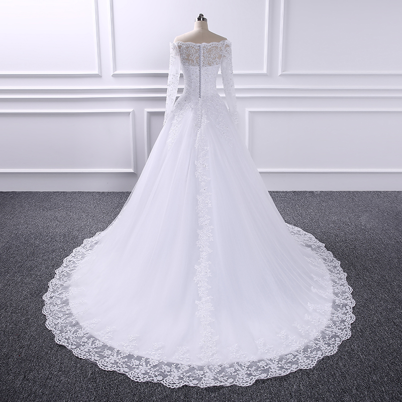 US $133 2 28% OFF yiwumensa robe de mariage Wedding Bridal Dresses China  vestido de noiva Cheap Luxury Long Sleeves Ball Gown Wedding Dress 2018-in