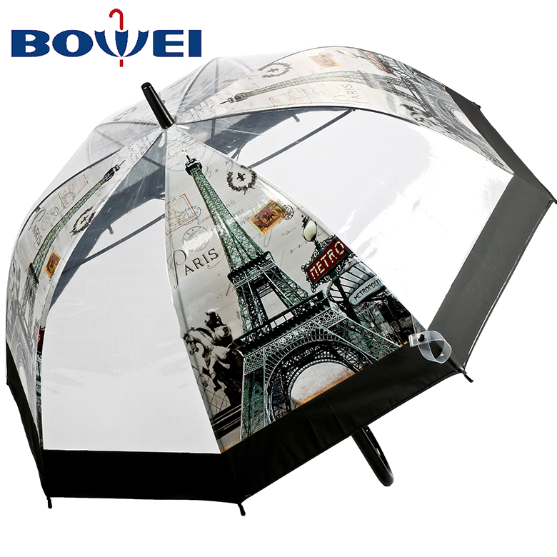 China wholesale apollo poe flower print transparent clear dome shaped umbrella