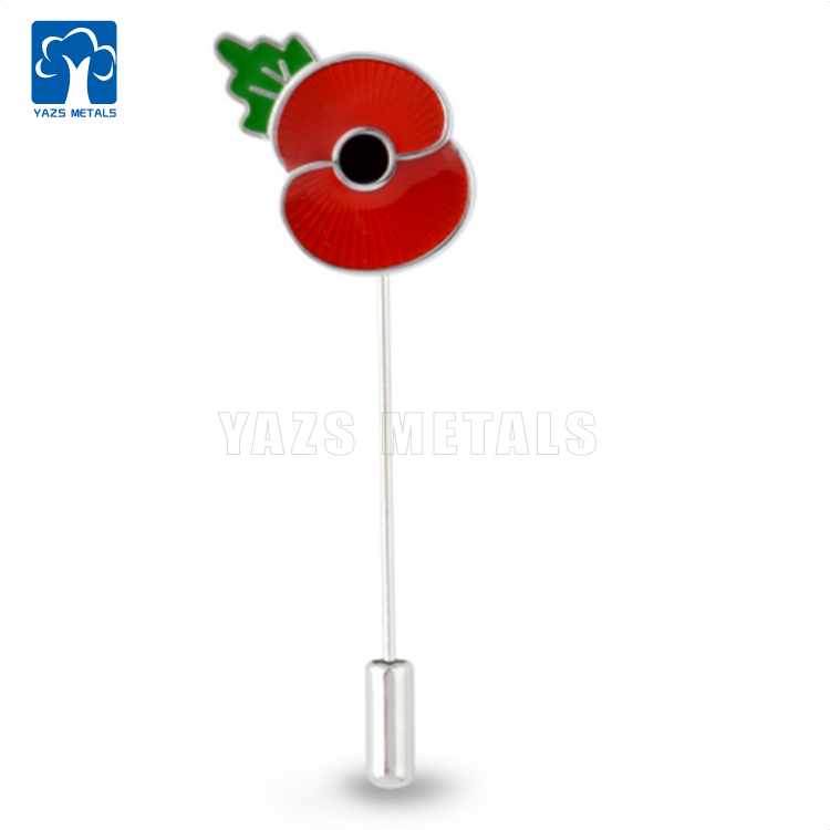 โลหะ poppy lapel stick pin