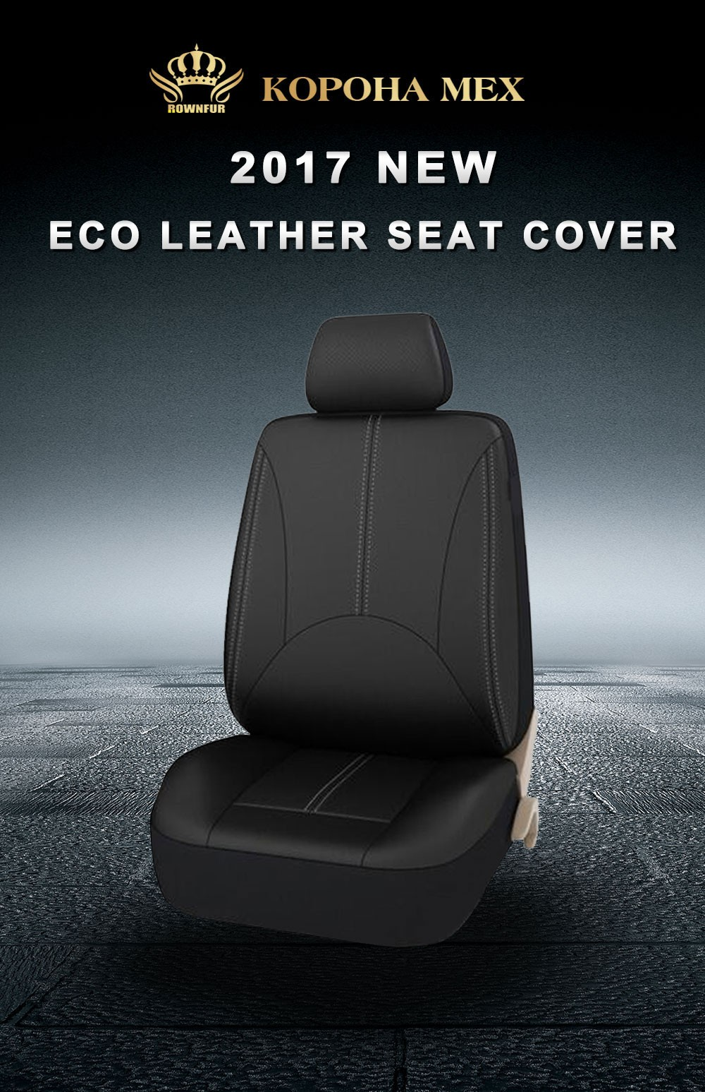 Rownfur High Quality 3D Four Season Fashion Universal PU Leather front seat Car Seat Cover for Car Seat Protector