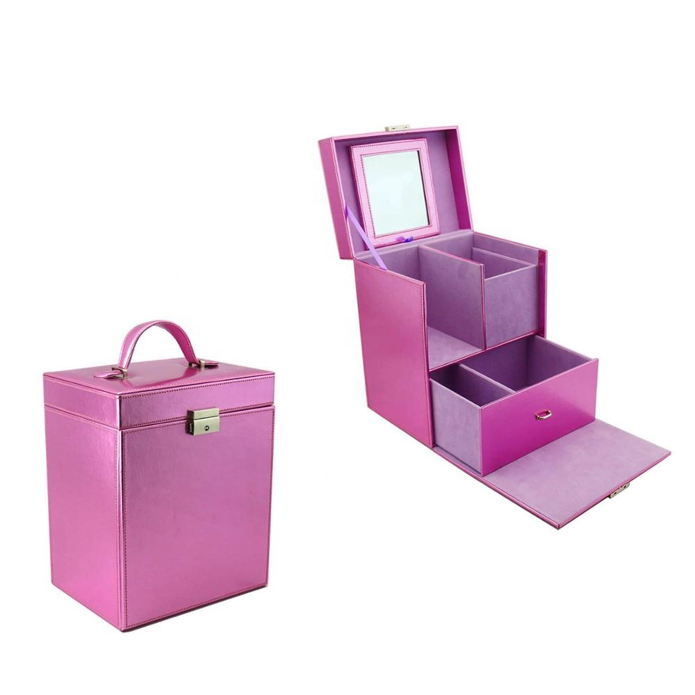 Purple leather large cosmetic box with drawer