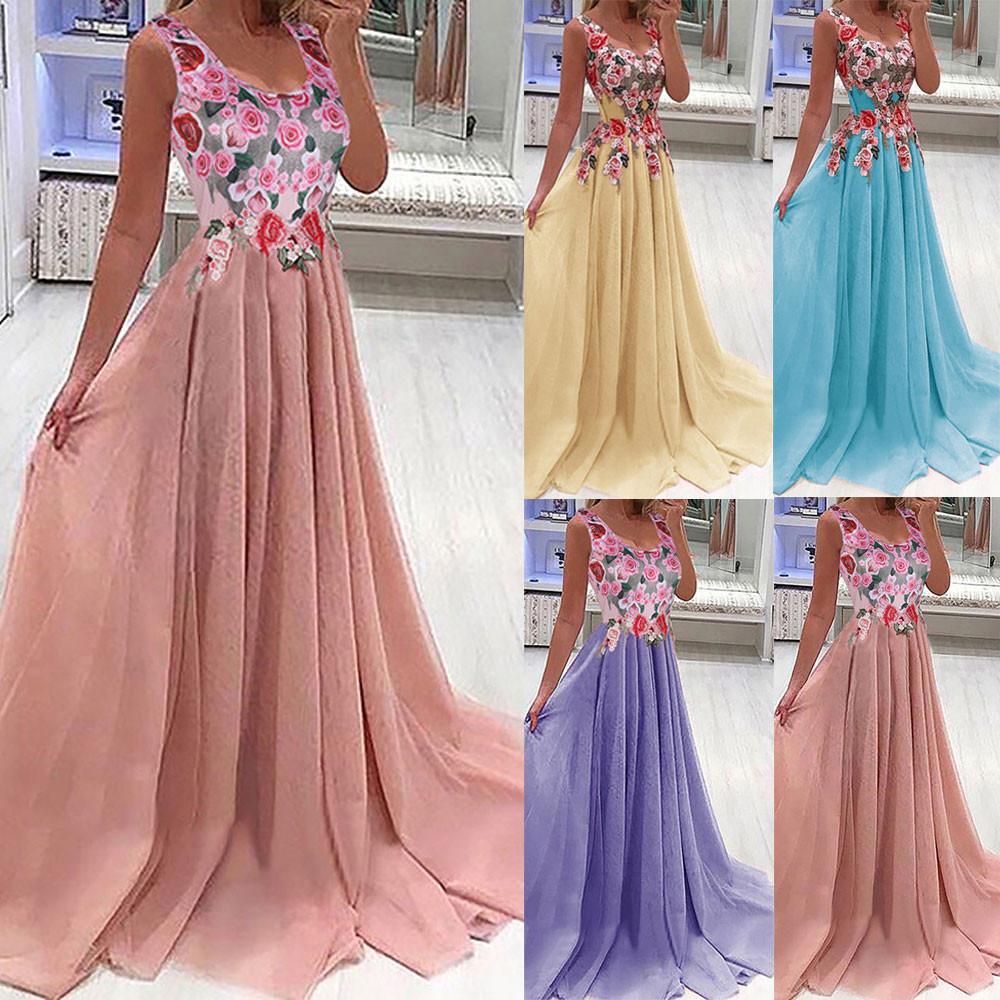 Women Lace Applique Elegant Coral Dresses Office Maxi Dresses For
