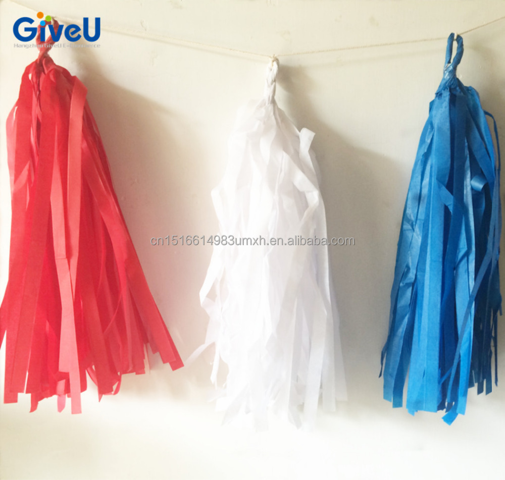 China Supplier the Fourth of July National Day Decoration Paper Tassel Garland
