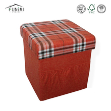 Ottoman Furniture Drawer Storage Box Fabric Folding Stool