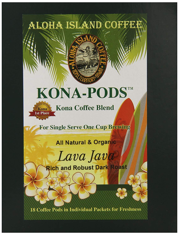 Aloha Island Lava Java Dark Roast Kona Blend Coffee Pods, 36-8g Coffee Pods