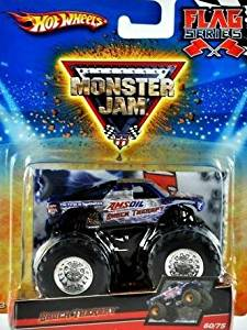 """Hot Wheels Monster Jam 2010, Shock Therapy """"AMS OIL"""" # 60/75, Flag Series. 1:64 Scale (Small Truck)."""