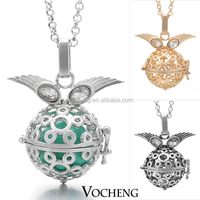 Free Shipping Wholesale 10pcs/lot Baby Chime 3colors Brass Metal vocheng angel bola Necklaces (VA-012)