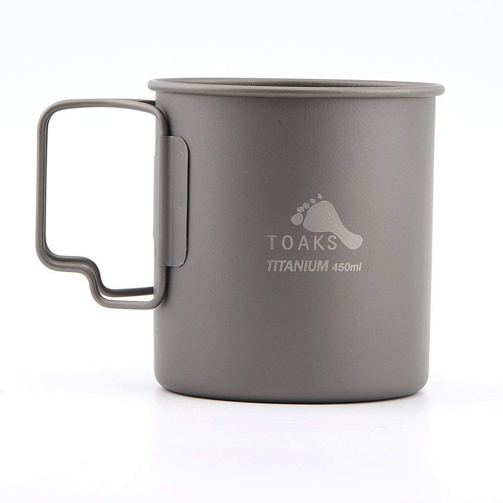 TOAKS Pure Titanium Tableware Ultralight Outdoor Mug Camping Cup, Large Size Can be Used as a Pot(375ml,450ml,550ml,650ml,750ml,1100ml)