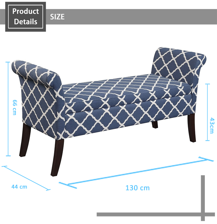 Fabric Storage Bench with Scrolled Arms ottoman stool