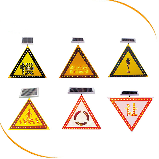 LED flashing traffic warning solar panel powered road safety signs with 3M reflective film