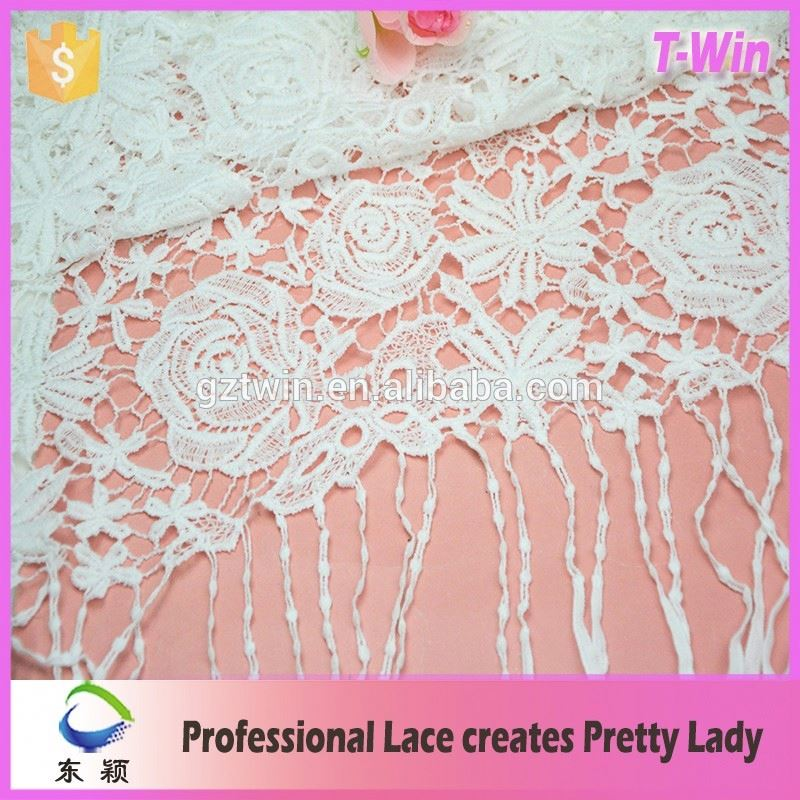 Rose lace guipure rose lace fabric for wholesale with fringe